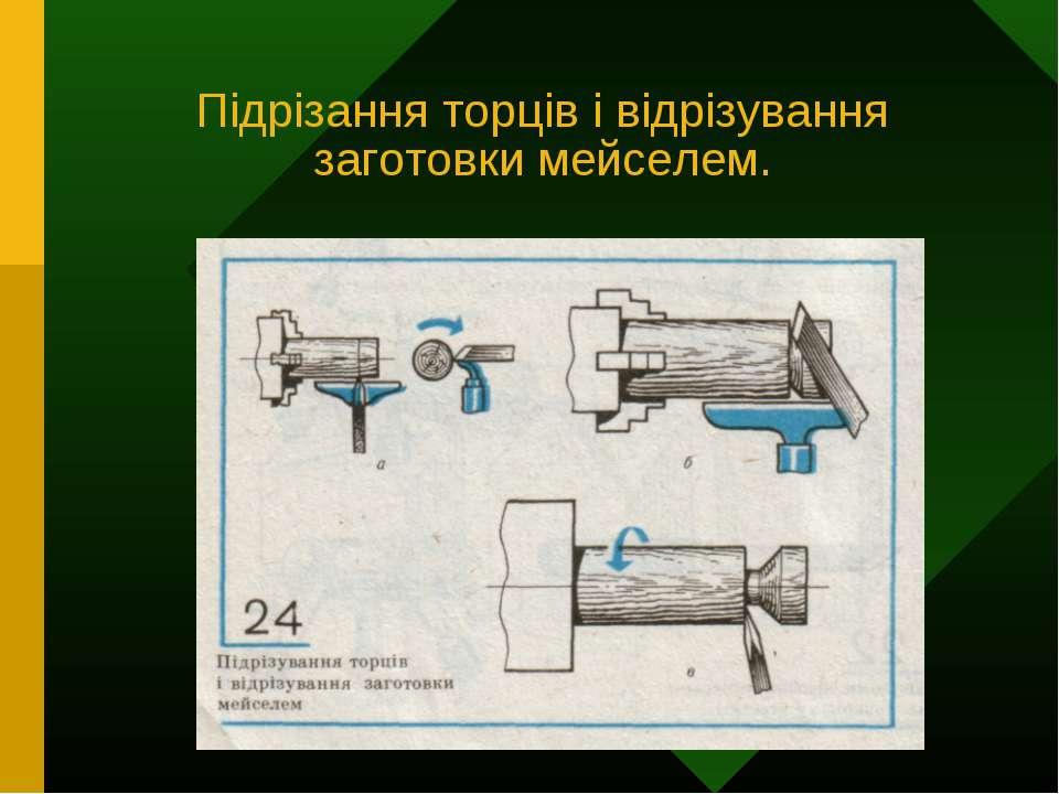 Підрізання торців і відрізування заготовки мейселем.