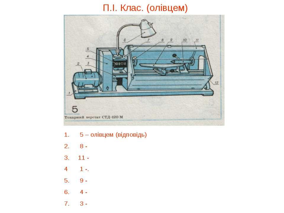 П.І. Клас. (олівцем) 1. 5 – олівцем (відповідь) 2. 8 - 3. 11 - 4 1 -. 5. 9 - ...