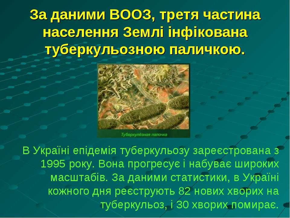 За даними ВООЗ, третя частина населення Землі інфікована туберкульозною палич...