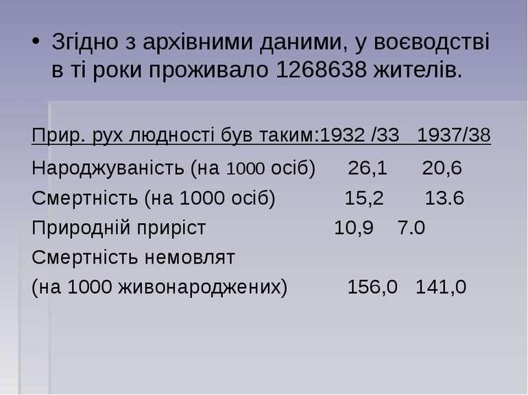 Згідно з архівними даними, у воєводстві в ті роки проживало 1268638 жителів. ...