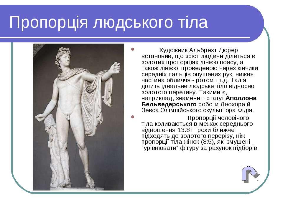 Пропорція людського тіла Художник Альбрехт Дюрер встановив, що зріст людини д...