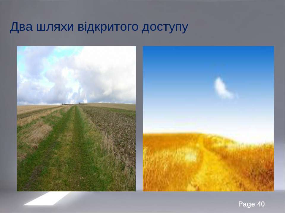 Два шляхи відкритого доступу Page *