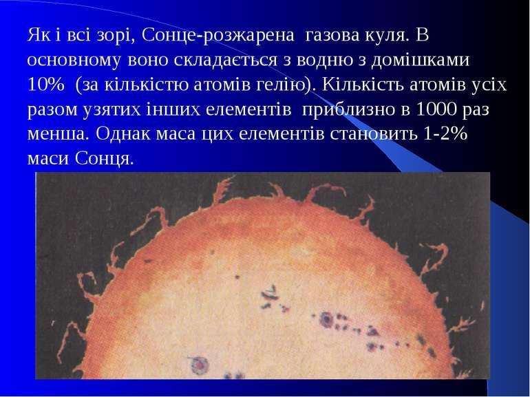 Як і всі зорі, Сонце-розжарена газова куля. В основному воно складається з во...