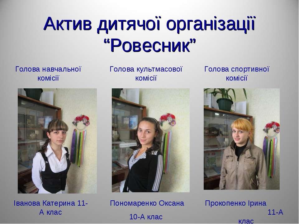 """Актив дитячої організації """"Ровесник"""" Голова навчальної комісії Іванова Катери..."""