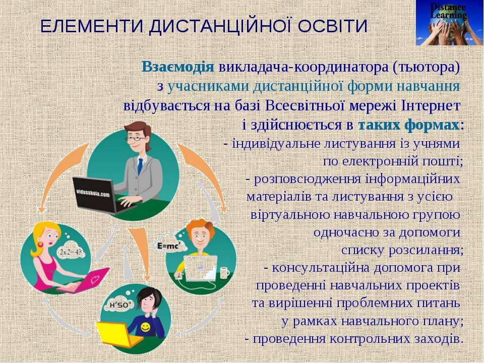 ЕЛЕМЕНТИ ДИСТАНЦІЙНОЇ ОСВІТИ Взаємодія викладача-координатора (тьютора) з уча...