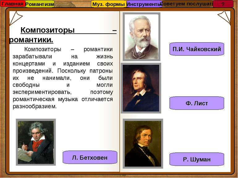 Композиторы – романтики. Композиторы – романтики зарабатывали на жизнь концер...