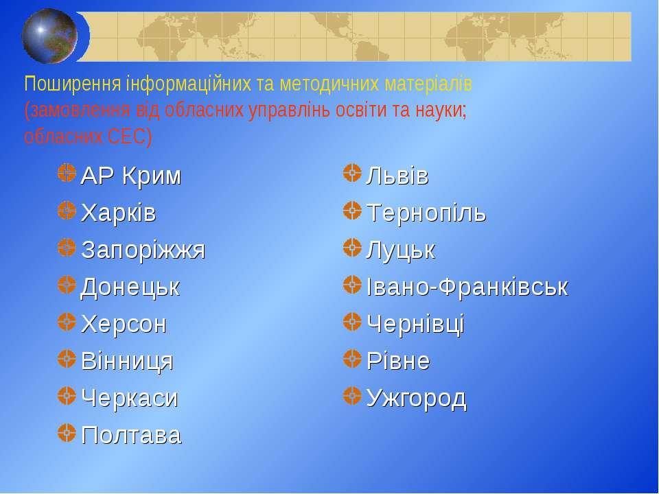Поширення інформаційних та методичних матеріалів (замовлення від обласних упр...