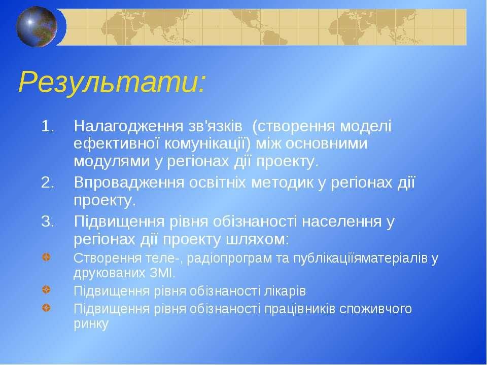 Результати: Налагодження зв'язків (створення моделі ефективної комунікації) м...