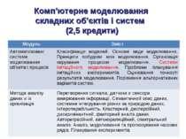 Комп'ютерне моделювання складних об'єктів і систем (2,5 кредити) Модуль Зміст...