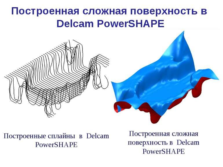 Построенные сплайны в Delcam PowerSHAPE Построенная сложная поверхность в Del...