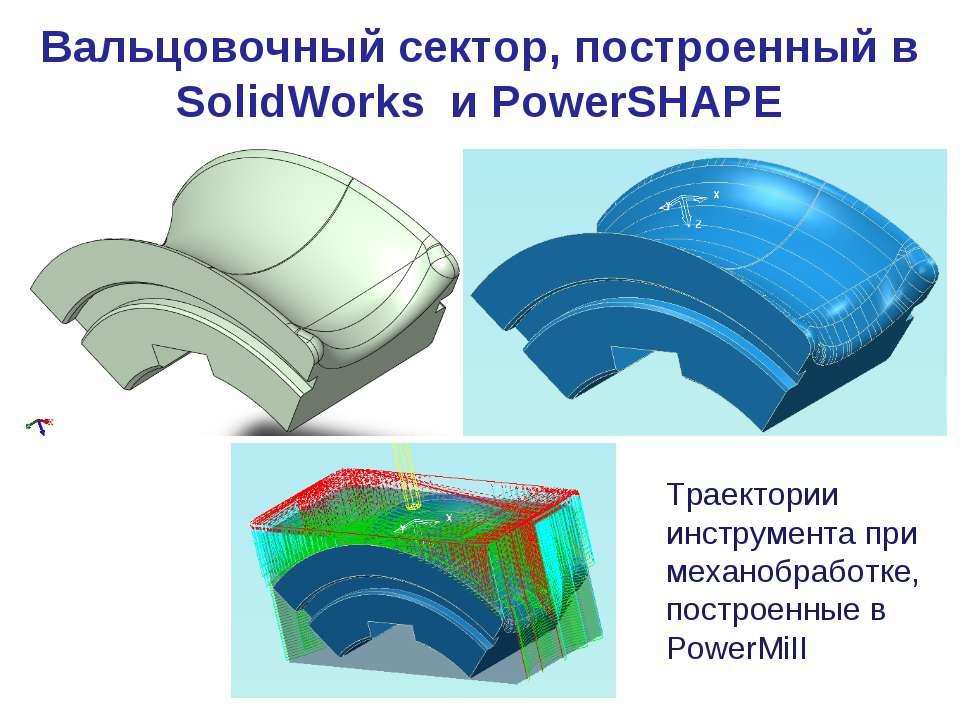 Вальцовочный сектор, построенный в SolidWorks и PowerSHAPE Траектории инструм...