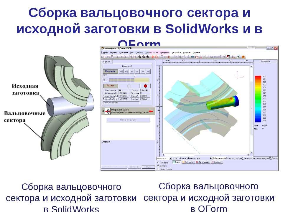 Сборка вальцовочного сектора и исходной заготовки в QForm Сборка вальцовочног...