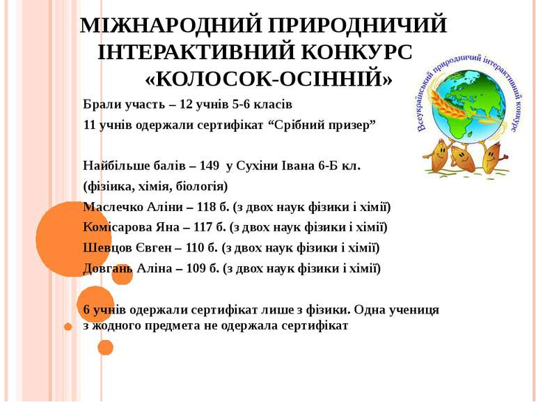МІЖНАРОДНИЙ ПРИРОДНИЧИЙ ІНТЕРАКТИВНИЙ КОНКУРС «КОЛОСОК-ОСІННІЙ» Брали участь ...