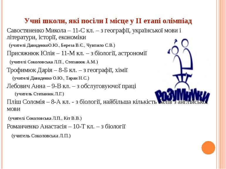 Учні школи, які посіли І місце у ІІ етапі олімпіад Савостяненко Микола – 11-С...