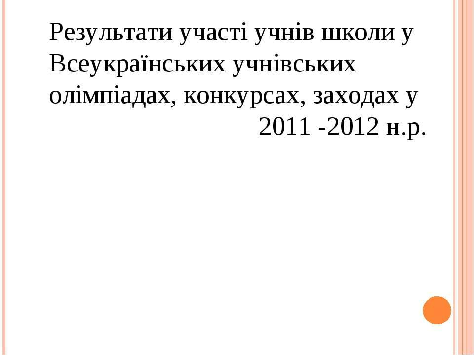 Результати участі учнів школи у Всеукраїнських учнівських олімпіадах, конкурс...