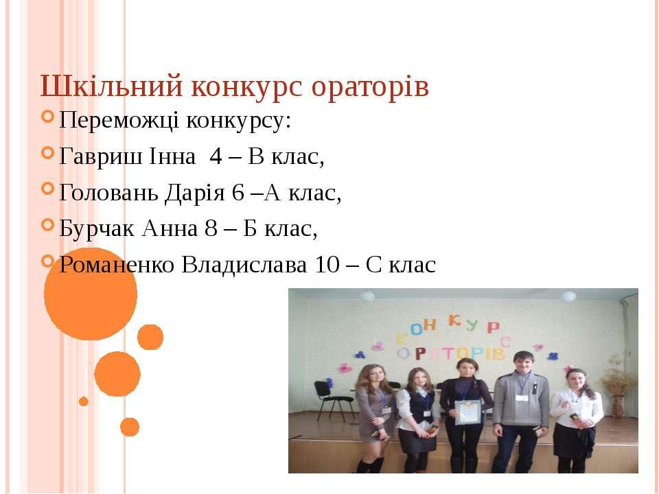 Шкільний конкурс ораторів Переможці конкурсу: Гавриш Інна 4 – В клас, Голован...