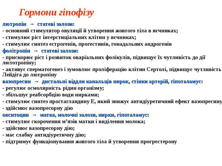 Гормони гіпофізу лютропін → статеві залози: - основний стимулятор овуляції й ...