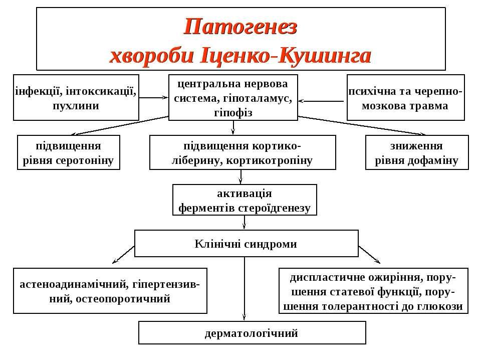 Патогенез хвороби Іценко-Кушинга інфекції, інтоксикації, пухлини центральна н...