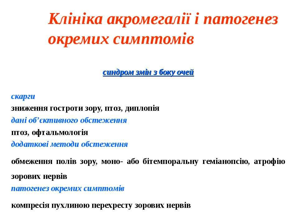Клініка акромегалії і патогенез окремих симптомів синдром змін з боку очей ск...