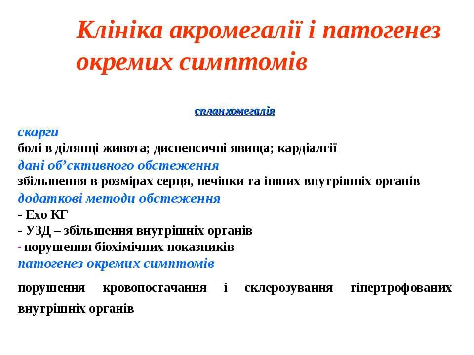 Клініка акромегалії і патогенез окремих симптомів спланхомегалія скарги болі ...