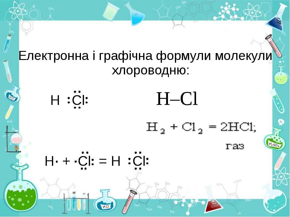 Електронна і графічна формули молекули хлороводню: H–Cl
