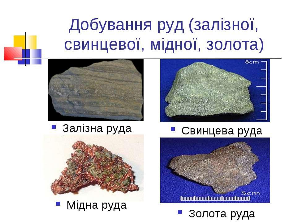 Добування руд (залізної, свинцевої, мідної, золота) Залізна руда Мідна руда З...