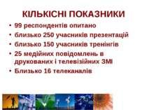 КІЛЬКІСНІ ПОКАЗНИКИ 99 респондентів опитано близько 250 учасників презентацій...