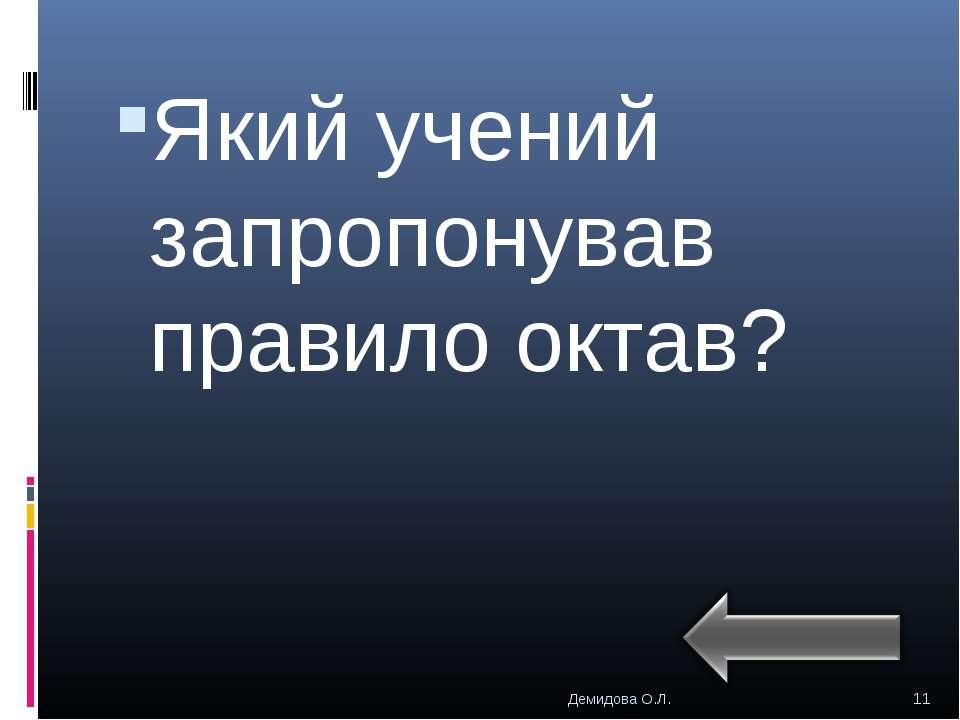 Який учений запропонував правило октав? * Демидова О.Л. Демидова О.Л.