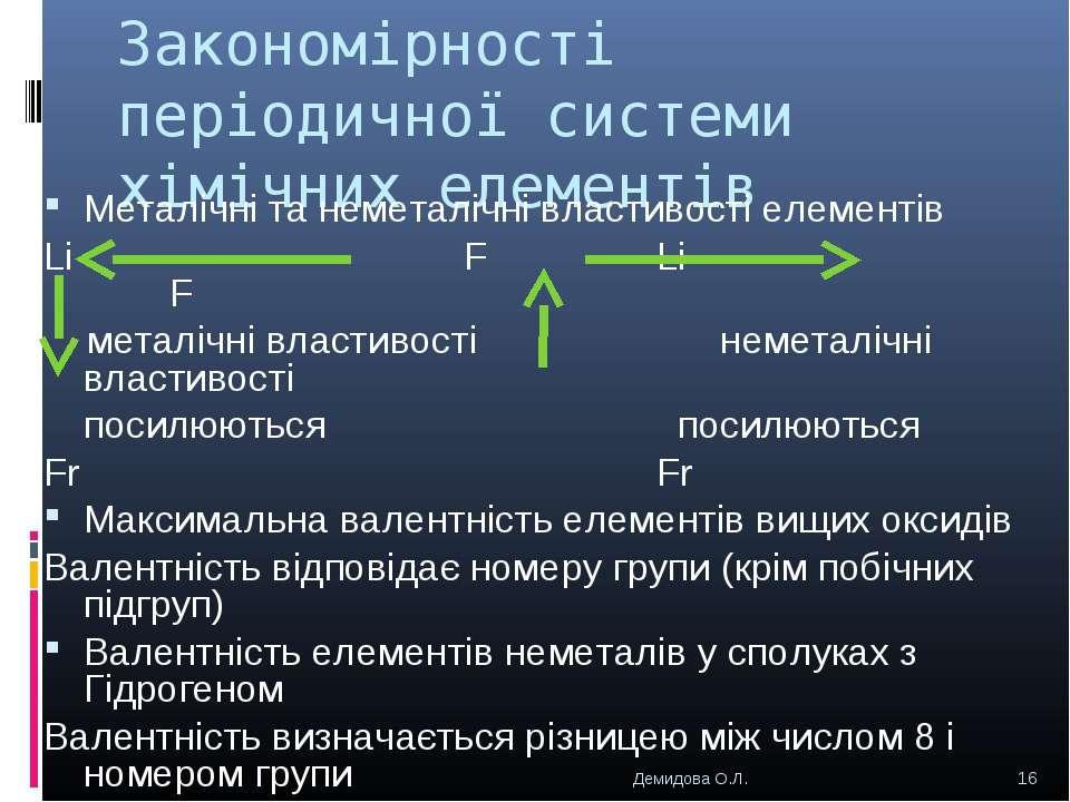 Закономірності періодичної системи хімічних елементів Металічні та неметалічн...