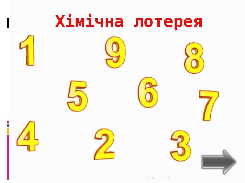 Хімічна лотерея * Демидова О.Л. Демидова О.Л.