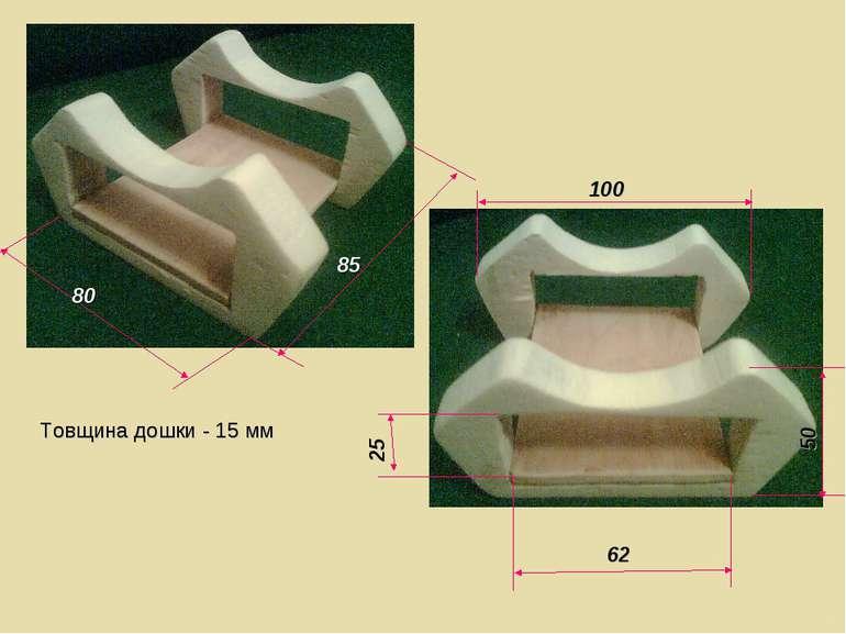 Товщина дошки - 15 мм 80 85 100 62 25 50