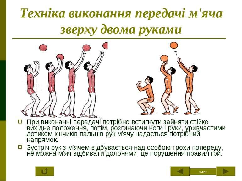 Техніка виконання передачі м'яча зверху двома руками При виконанні передачі п...