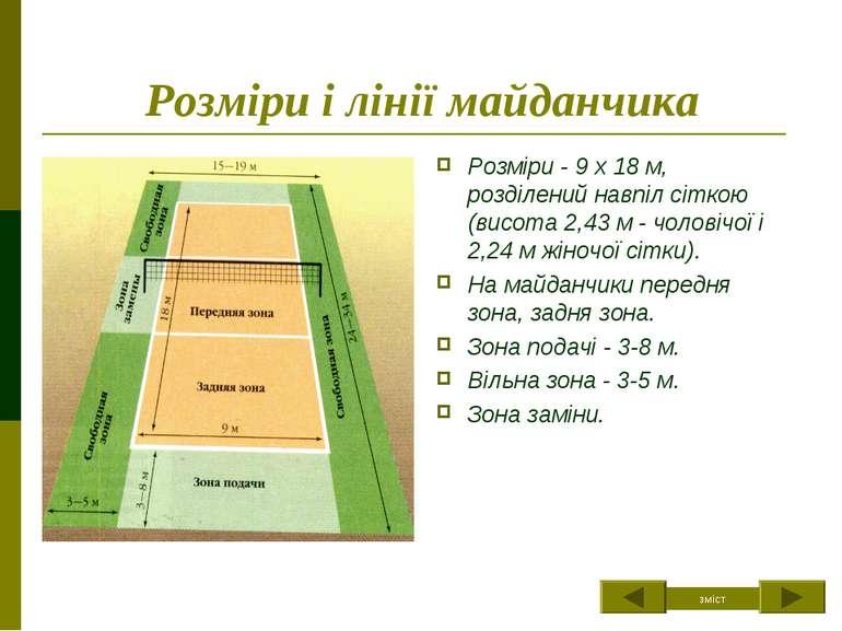 Розміри і лінії майданчика Розміри - 9 х 18 м, розділений навпіл сіткою (висо...