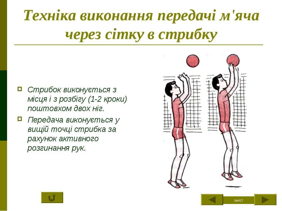 Техніка виконання передачі м'яча через сітку в стрибку Стрибок виконується з ...