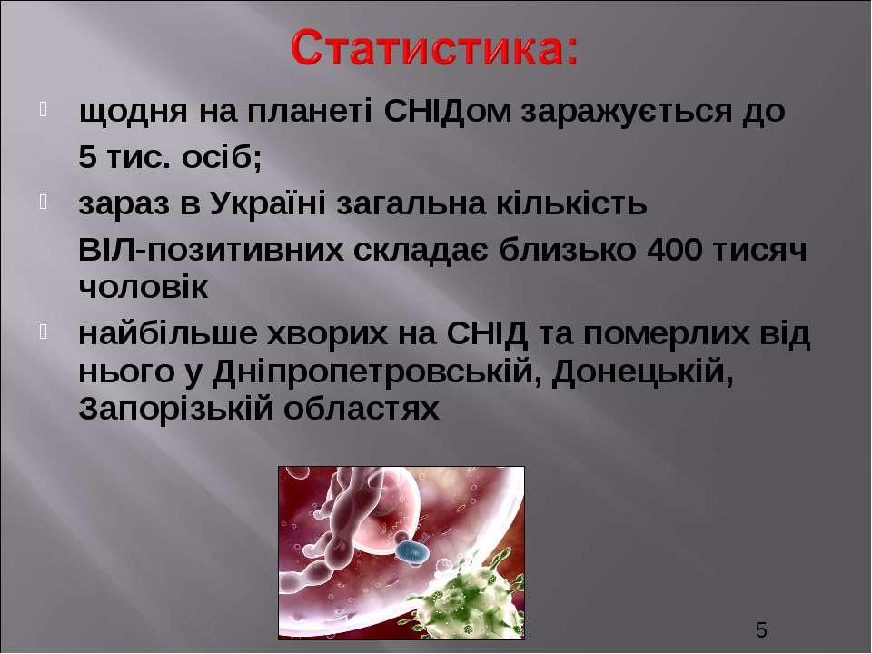 щодня на планеті СНІДом заражується до 5 тис. осіб; зараз в Україні загальна ...
