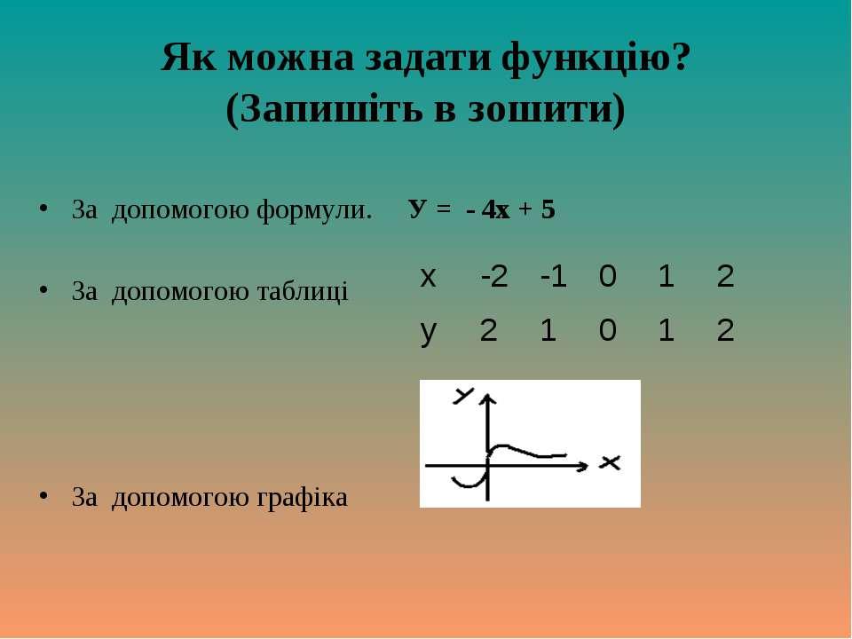 Як можна задати функцію? (Запишіть в зошити) За допомогою формули. У = - 4х +...