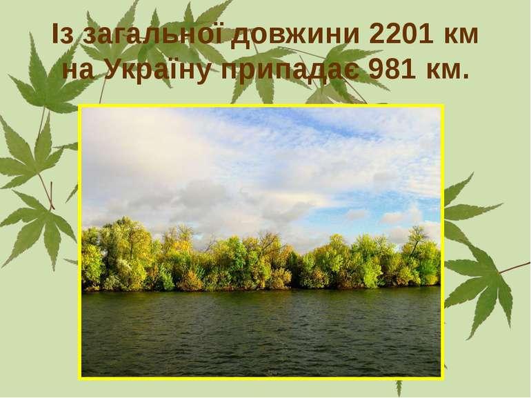 Із загальної довжини 2201 км на Україну припадає 981 км.