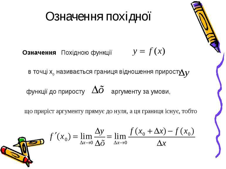 Означення похідної Означення Похідною функції в точці х0 називається границя ...