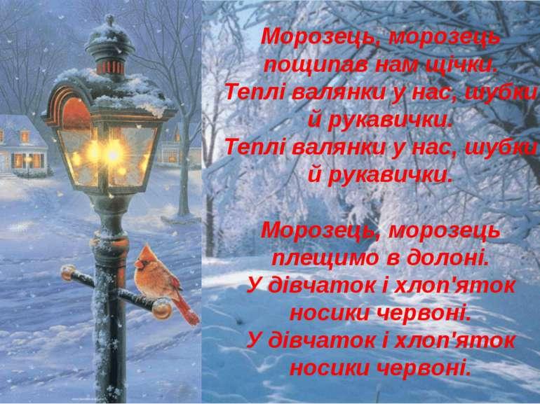 Морозець, морозець пощипав нам щічки. Теплі валянки у нас, шубки й рукавички....