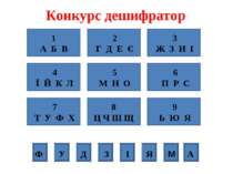 Конкурс дешифратор 1 А Б В 2 Г Д Е Є 3 Ж З И І 4 Ї Й К Л 5 М Н О 6 П Р С 7 Т ...