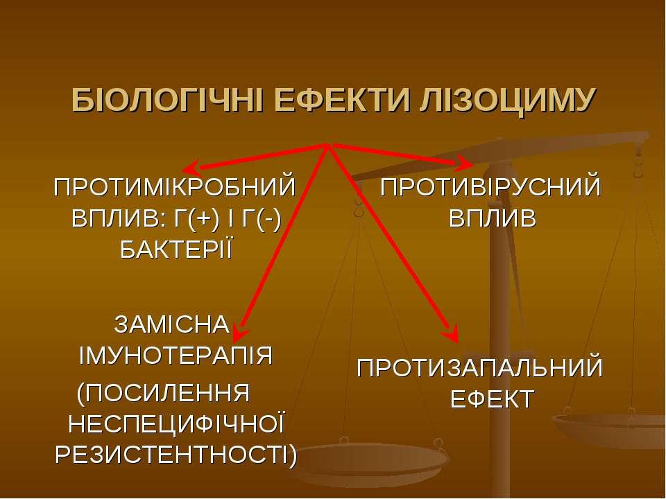 БІОЛОГІЧНІ ЕФЕКТИ ЛІЗОЦИМУ ПРОТИМІКРОБНИЙ ВПЛИВ: Г(+) І Г(-) БАКТЕРІЇ ЗАМІСНА...