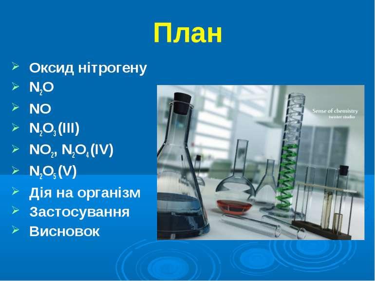 План Оксид нітрогену N2O NO N2O3 (III) NО2, N2O4 (IV) N2O5 (V) Дія на організ...