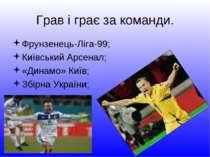Грав і грає за команди. Фрунзенець-Ліга-99; Київський Арсенал; «Динамо» Київ;...