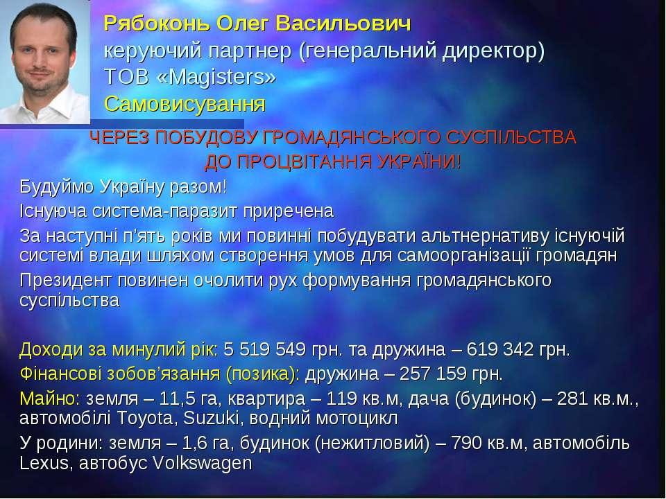 Рябоконь Олег Васильович керуючий партнер (генеральний директор) ТОВ «Magiste...