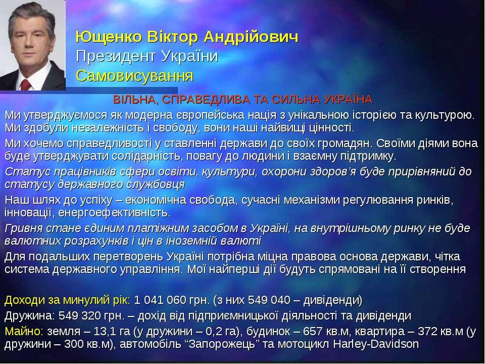 Ющенко Віктор Андрійович Президент України Самовисування ВІЛЬНА, СПРАВЕДЛИВА ...
