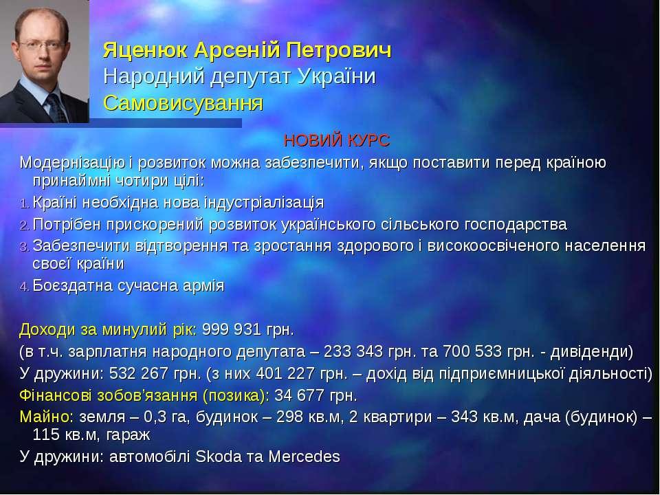 Яценюк Арсеній Петрович Народний депутат України Самовисування НОВИЙ КУРС Мод...