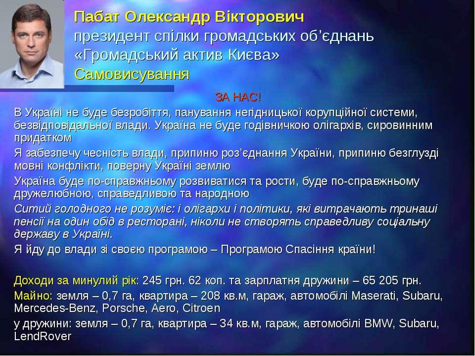 Пабат Олександр Вікторович президент спілки громадських об'єднань «Громадськи...