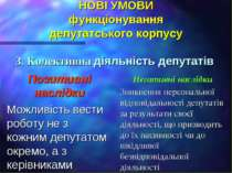 НОВІ УМОВИ функціонування депутатського корпусу 3. Колективна діяльність депу...