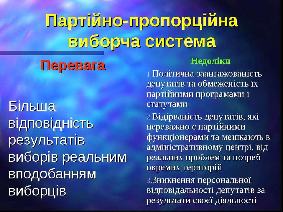 Партійно-пропорційна виборча система Перевага Більша відповідність результаті...