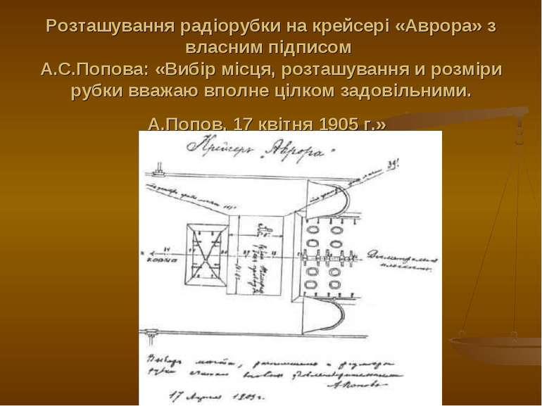 Розташування радіорубки на крейсері «Аврора» з власним підписом А.С.Попова: «...